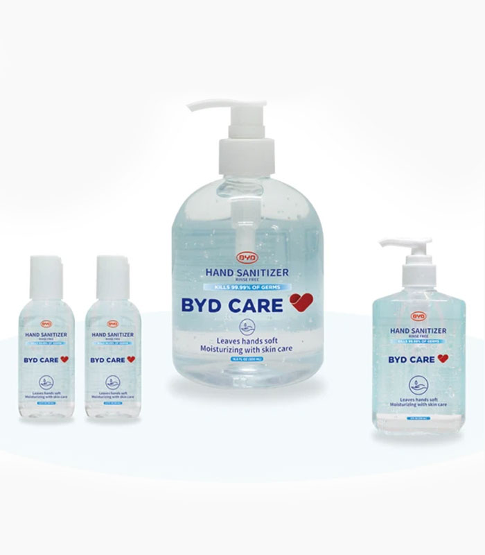 BYD Care official Hand Sanitizers from Medical Group Care Available in 3 Sizes | PPE Personal Protection Equipment NIOSH N95 Masks, KN95 Masks, 3-PLY Masks and other PPE items for individuals, hospitals, businesses and health organizations in the United States and Europe