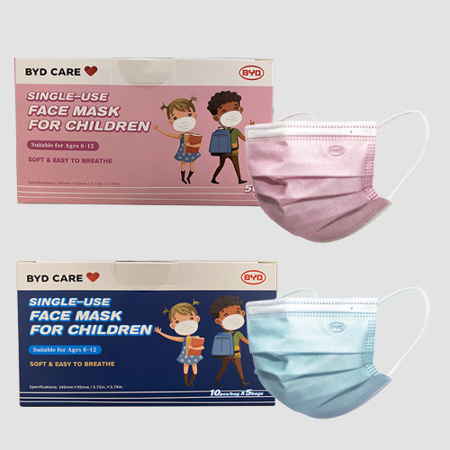 BYD Care official 3-Ply Single Use Protective Face Masks for Children in Pink & Blue from Medical Group Care | PPE Personal Protection Equipment NIOSH N95 Masks, KN95 Masks, 3-PLY Masks and other PPE items for individuals, hospitals, businesses and health organizations in the United States and Europe