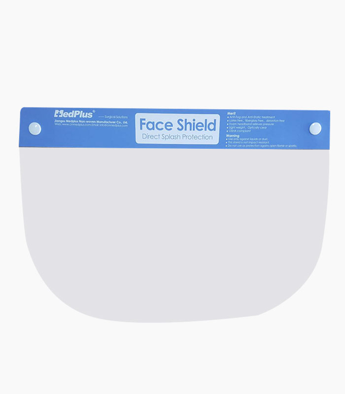 MedPlus Official Plastic Face Shield with Tie from Medical Group Care | PPE Personal Protection Equipment NIOSH N95 Masks, KN95 Masks, 3-PLY Masks and other PPE items for individuals, hospitals, businesses and health organizations in the United States and Europe