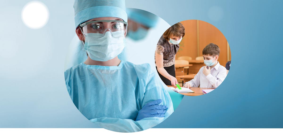 Nurse wearing PPE, gloves and 3-PLY surgical face mask with Teacher and Students wearing 3-PLY Face Masks from Medical Group Care | PPE Personal Protection Equipment NIOSH N95 Masks, KN95 Masks, 3-PLY Masks and other PPE items for individuals, hospitals, businesses and health organizations in the United States and Europe